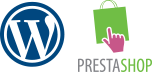 Logotipos de WordPress y Prestashop